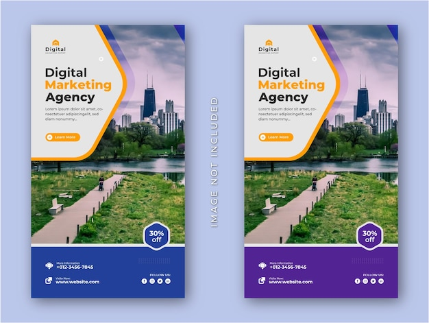 Digital marketing agency and corporate business flyer modern instagram stories social media post ban