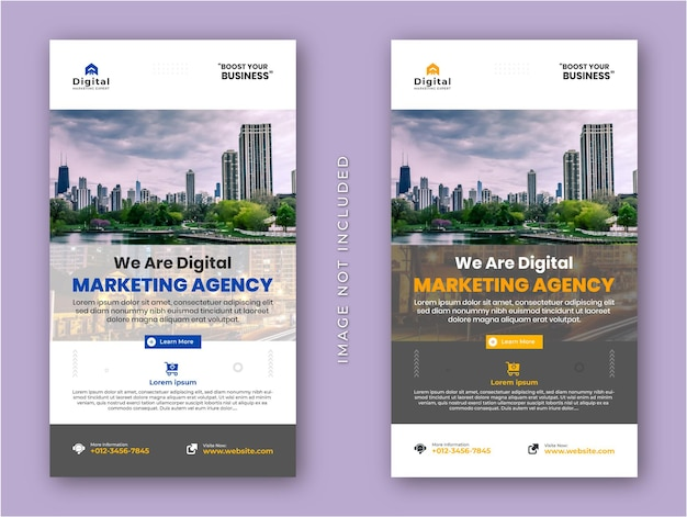Digital marketing agency and corporate business flyer modern instagram stories social media post banner template
