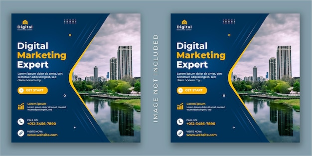 Digital marketing agency and corporate business flyer, square social media instagram post or web banner template