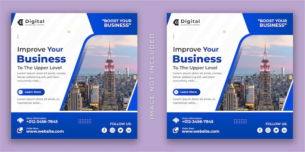 Digital marketing agency and corporate business flyer square social media instagram post or web banner template
