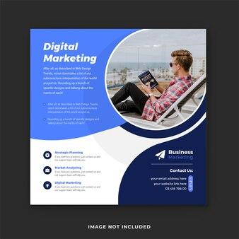 デジタルマーケティングエージェンシーの企業ソーシャルメディアバナーとinstagramの投稿テンプレート
