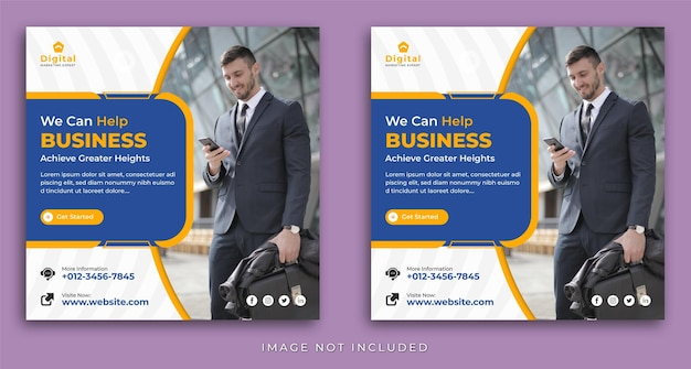 Digital marketing agency and elegant corporate business flyer, square social media instagram post template