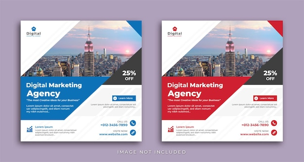 Digital marketing agency and elegant corporate business flyer, square social media instagram post or web banner template