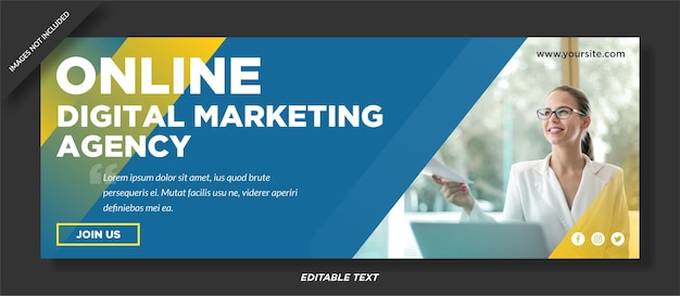 디지털 마케팅 대행사 페이스 북 커버 및 소셜 미디어 템플릿