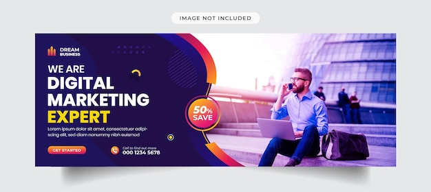 Шаблон обложки facebook для агентства цифрового маркетинга