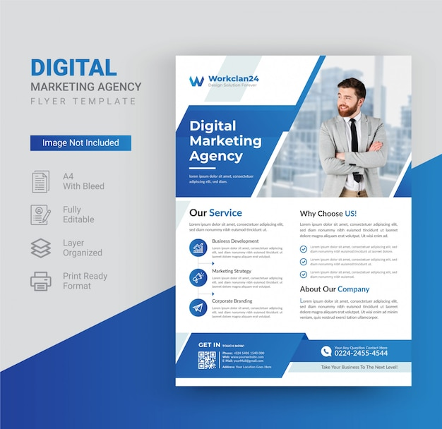 Digital marketing agency flyer template  .