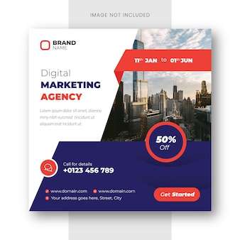 디지털 마케팅 대행사 인스타그램 게시물 및 소셜 미디어 배너 템플릿