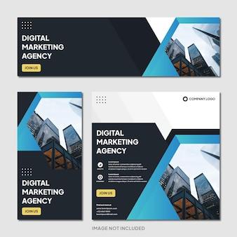 Агентство цифрового маркетинга instagram пост баннер шаблон современный фон