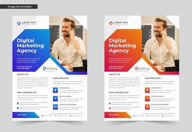 デジタルマーケティング代理店またはビジネスチラシテンプレートデザインセットまたはa4チラシテンプレート