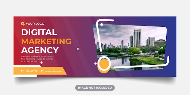 Digital marketing agency panoramic banner template for facebook cover