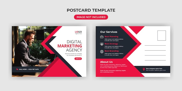 Digital marketing agency postcard template