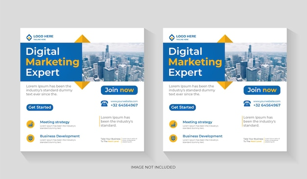 Digital marketing agency social media post design with business promotion and corporate square flyer editable template