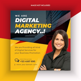 Цифровое маркетинговое агентство, пост в социальных сетях или веб-баннер