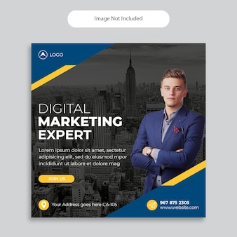 디지털 마케팅 대행사 소셜 미디어 게시물 템플릿, 정사각형 배너 템플릿