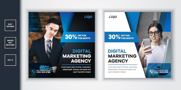 デジタルマーケティング代理店のソーシャルメディアの投稿とwebバナー