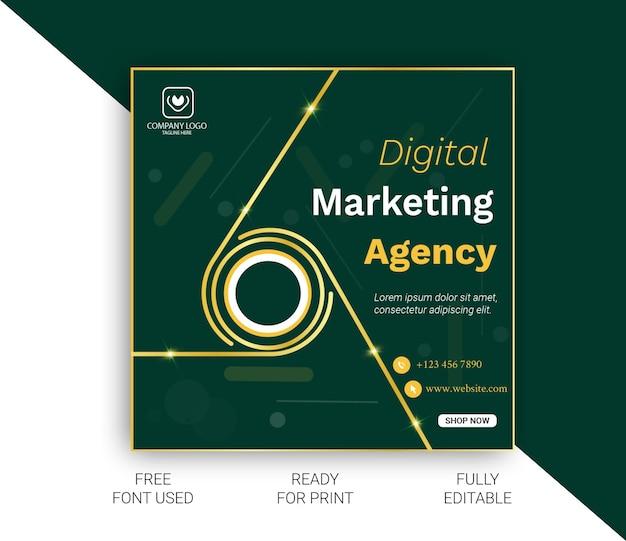 デジタルマーケティングエージェンシーのソーシャルメディア投稿 Premiumベクター