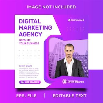 Digital marketing agency social media promotion and instagram banner post template design