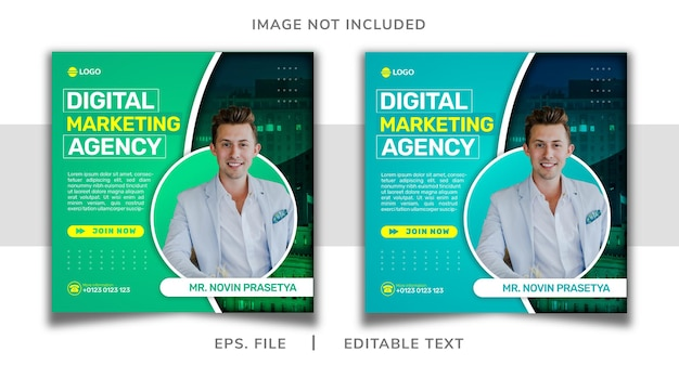 Digital marketing agency social media promotion and instagram template banner post design