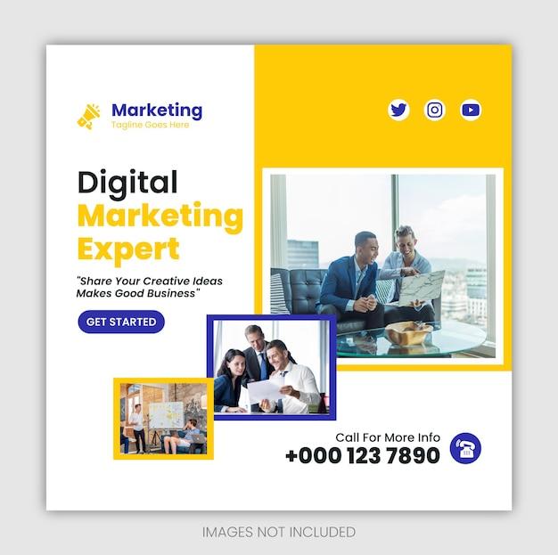 Агентство цифрового маркетинга в социальных сетях, веб-баннер и шаблон поста для баннера в instagram