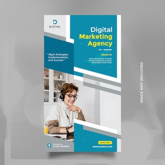 Digital marketing agency template design for social media story and banner with modern blue color