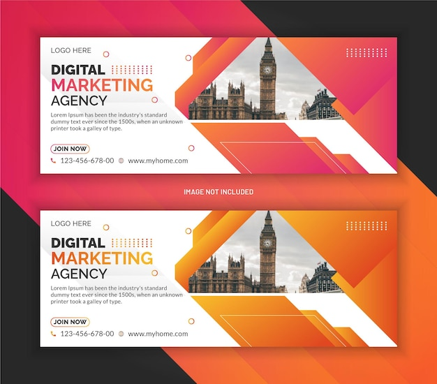 Digital marketing agency web banner and facebook cover template