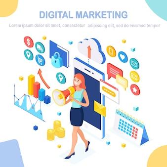 デジタルマーケティングと事業開発のイラスト。