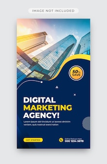 Шаблон оформления рассказов о цифровом маркетинге и корпоративных историях instagram
