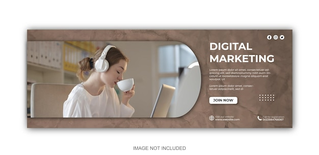 デジタルマーケティングと企業のソーシャルメディアの投稿とwebバナーのデザインテンプレート
