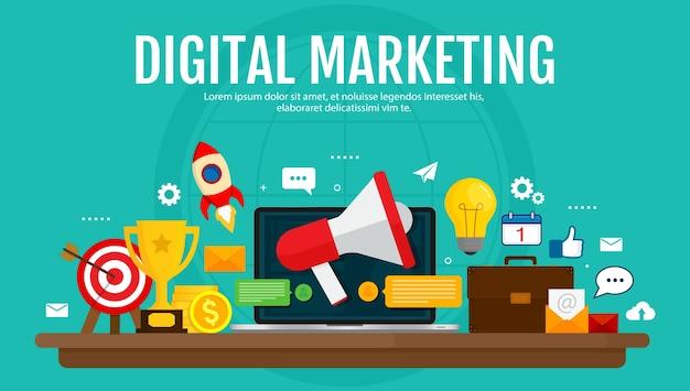 デジタルマーケティングとデジタル広告の概念。メディアプロモーション、ソーシャルネットワーク、seo。フラットなデザイン。