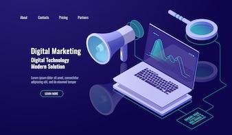 デジタルマーケティングおよびプロモーション、オンライン広告、ノートパソコンおよび虫眼鏡付きスピーカー