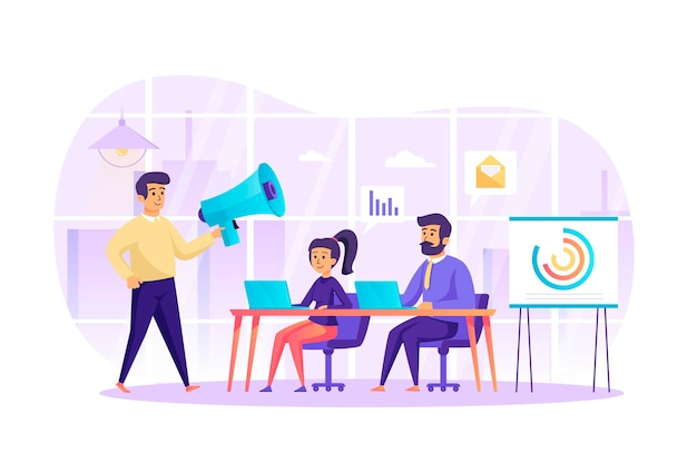 人々のキャラクターシーンとオフィスフラットデザインコンセプトでのデジタルマーケティングとチームワーク