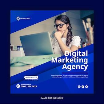Шаблон баннера в социальных сетях агентства цифрового маркетинга или квадратный флаер