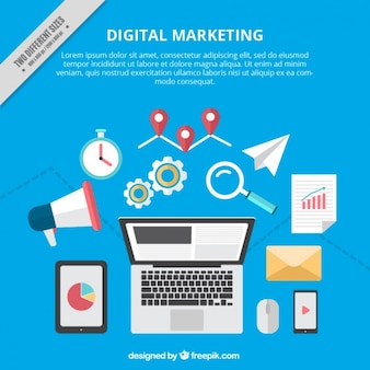 Digital marketing background with colorful tools
