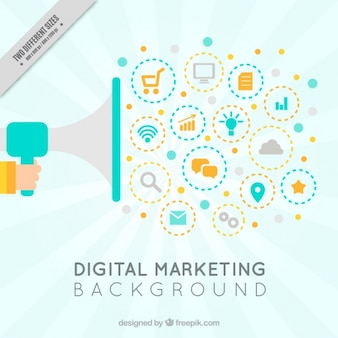 Цифровой маркетинг фон с мегафоном