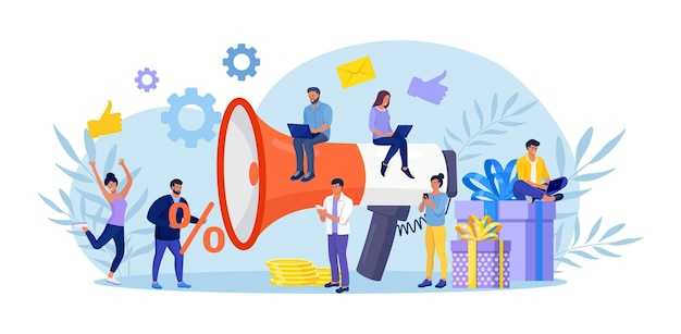 Digital marketing. big megaphone with gift box. promoter attracts customers, investors. loyalty reward, discount, bonus program. attraction of target audience, subscribers. social network promotion