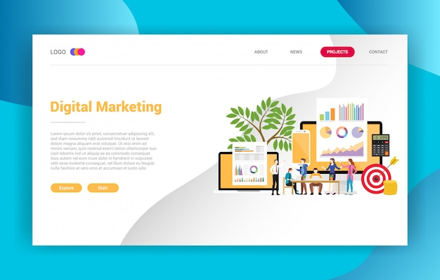 Digital marketing business landing page campaign design