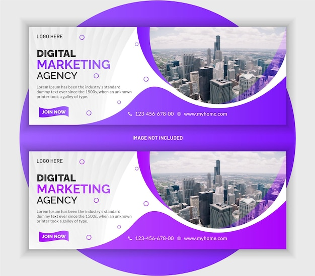 Digital marketing business promotion web banner and facebook cover