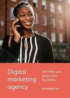 포스터에 대한 대행사 주제에 대한 디지털 마케팅 비즈니스 템플릿