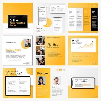 黄色のテーマで設定されたデジタルマーケティングビジネステンプレートソーシャルメディアの投稿