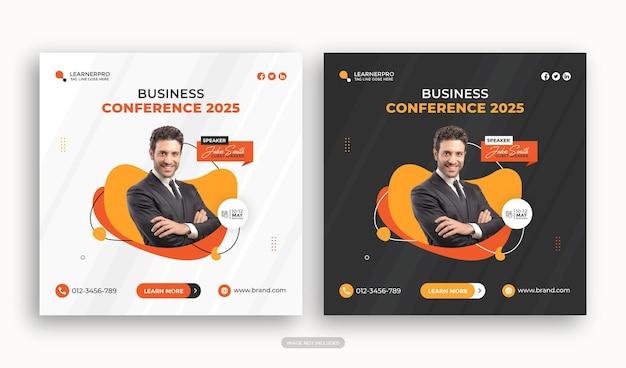 Digital marketing business webinar conference banner or corporate social media post premium vector
