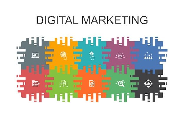 평면 요소와 디지털 마케팅 만화 템플릿입니다. 인터넷, 마케팅 연구, 소셜 캠페인, 클릭당 지불과 같은 아이콘이 포함되어 있습니다.