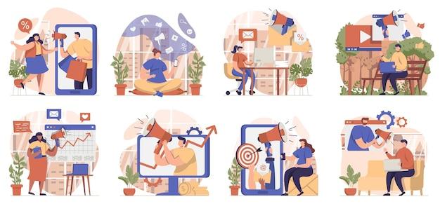 고립 된 장면의 디지털 마케팅 컬렉션 사람들은 온라인으로 홍보하고 광고를 만듭니다.