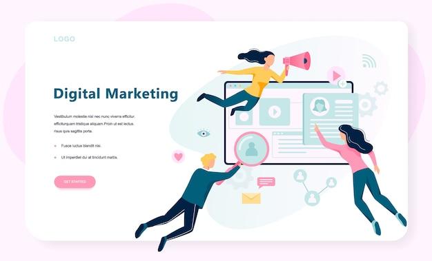 Баннер концепции цифрового маркетинга. социальные сети и средства массовой информации. seo, sem и онлайн-продвижение. иллюстрация в стиле