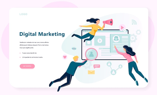 Digital marketing concept banner. social network and media communication. seo, sem and online promotion.  illustration in  style