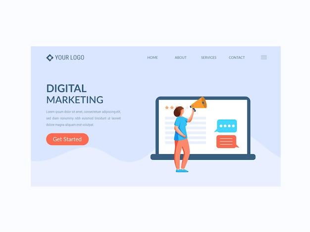 Целевая страница на основе концепции цифрового маркетинга или баннер героя