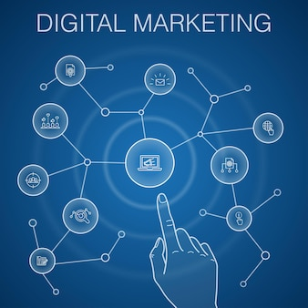 Digital marketing concept, blue background. internet, marketing research, social campaign, pay per click icons