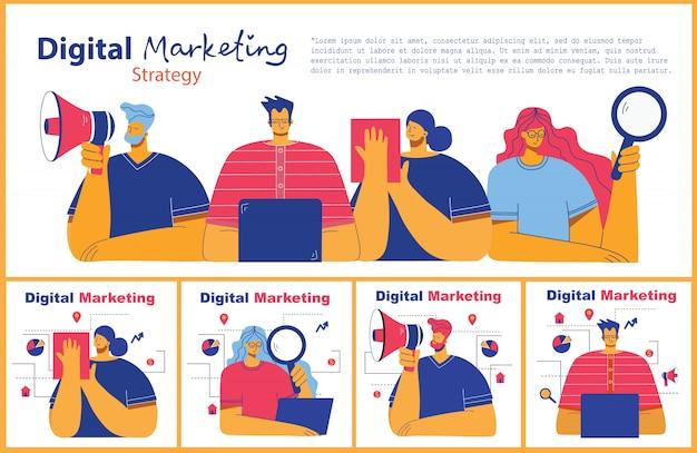 モダンなフラットでクリーンなデザインのデジタルマーケティングの概念図。男性と女性はラップトップとタブレットを使用して、検索と宣伝を行っています。ランディングページ、ウェブ開発、デザインのための単一ページアプリケーション。