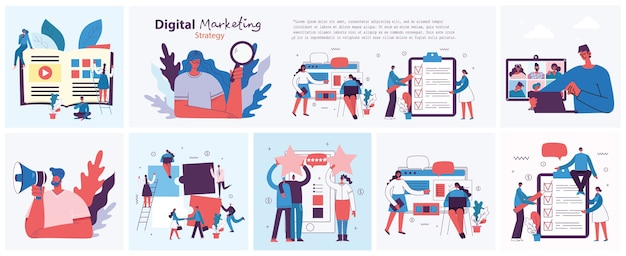 モダンなフラットでクリーンなデザインのデジタルマーケティングコンセプトイラスト。男性と女性はラップトップとタブレットを使用して、検索と宣伝を行っています。ランディングページ、web開発、デザイン用のシングルページアプリケーション。