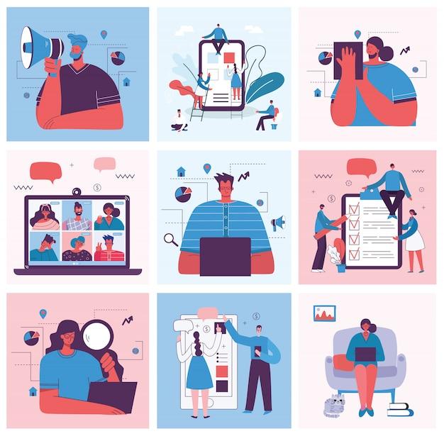 Digital marketing concept illustration in modern flat and clean design.