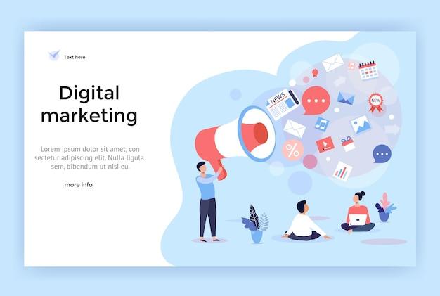 웹 디자인, 배너, 모바일 앱, 방문 페이지에 완벽한 디지털 마케팅 개념 그림